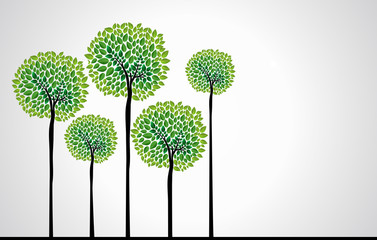 Trendy concept trees vector