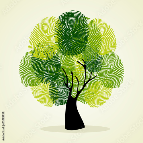 Finger prints tree background set