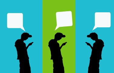 gente con globos de texto de diálogo