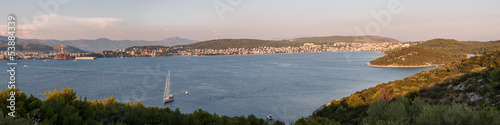 Panorama of Trogir and Ciovo Island, Croatia