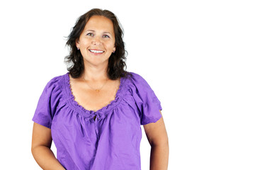 Smiling woman in purple