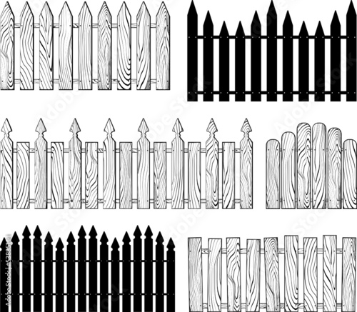 fences silhouettes vector collection