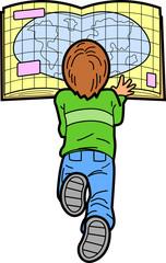 Boy Reading Map