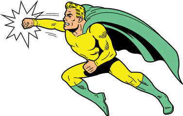 Classic superhero throwing a punch