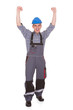 Portrait Of Male Worker With Arm Raised