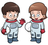 Vector illustration of Cartoon astronaut kids