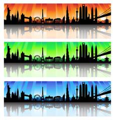 International skyline vector Set