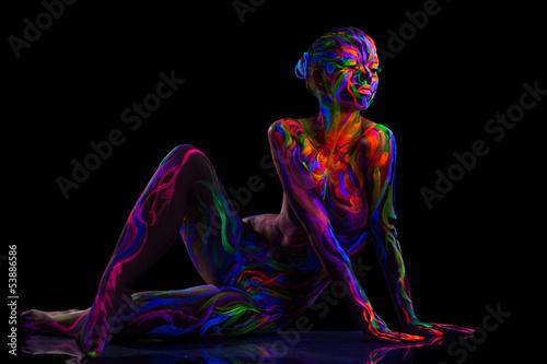 Sensual dancer posing with luminous makeup - 53886586