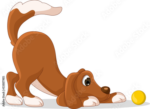 cute dog cartoon playing yellow ball