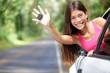 Car - woman showing new car keys happy