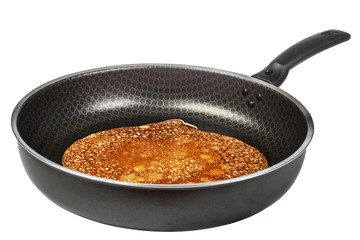 hot pancake in frying pan