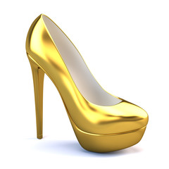 Gold high heel shoes