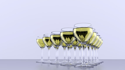 Triangle of wineglasses - white wine - front view