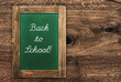 vintage green blackboard with rustic frame. Back to School