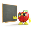 3d Apple teaches at the blackboard