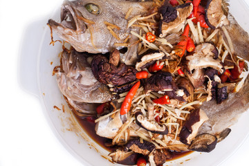Chinese cuisine of steamed grouper