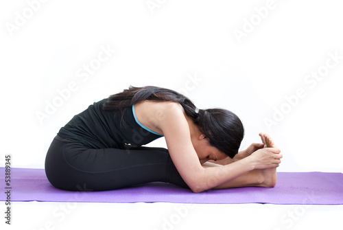 beautiful girl practising yoga