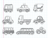 Fototapety doodle transport car icons