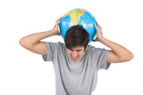 Man suffering because of a globe