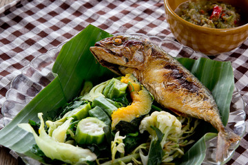 Thai food Shrimp paste with fried mackerel and vegetable