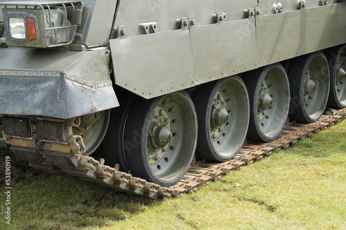 The Tracks on a Heavy Duty Army Military Vehicle.