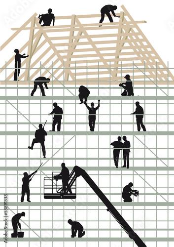 Bauhandwerker beim Hausbau