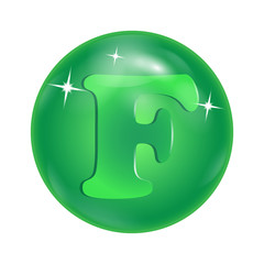 """chemical element symbol """"F"""" in a green bowl"""