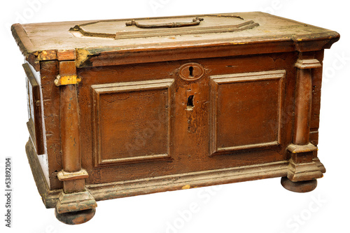 Ancient wooden chest isolated on white