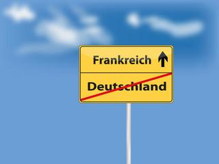 Ortsschild gelb deutschland frankreich