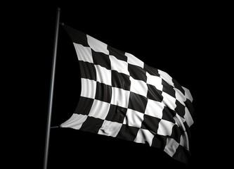 Finishing checkered flag on black background