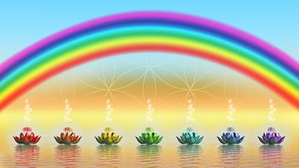 Chakra Lotus auf dem Wasser und Regenbogen