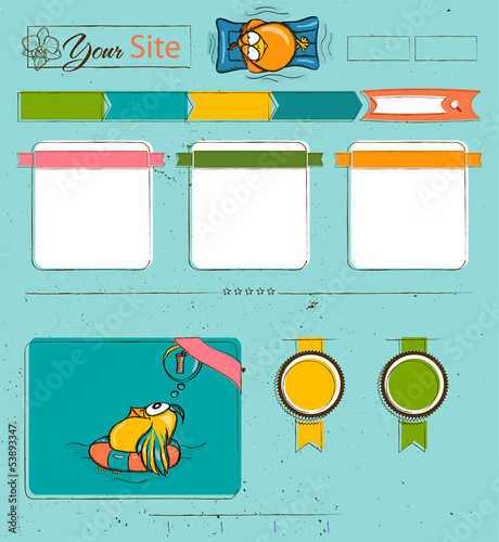 Website template with cartoon birds.