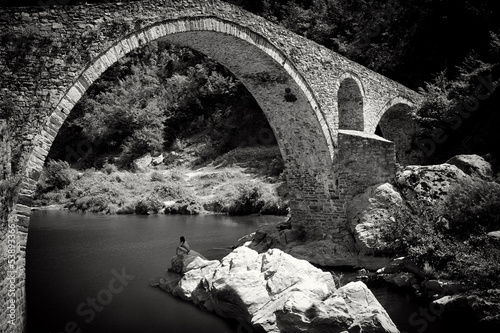 stone bridge in bw