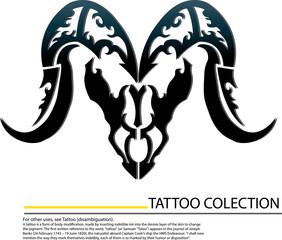 buffalo skull tattoo on the whitr background.