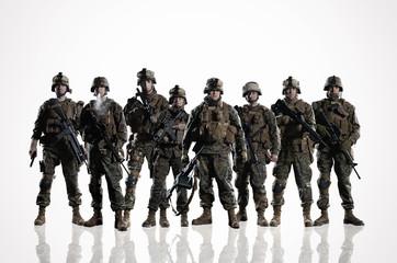 Eight isolated U.S. Marines. on the smooth floor