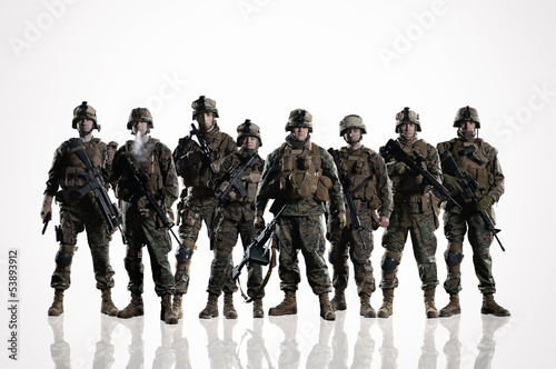 Eight isolated U.S. Marines. on the smooth floor