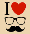 print I love Hipster glasses and mustaches. vector background