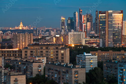 Foto op Canvas Milan blue twilight over Moscow city