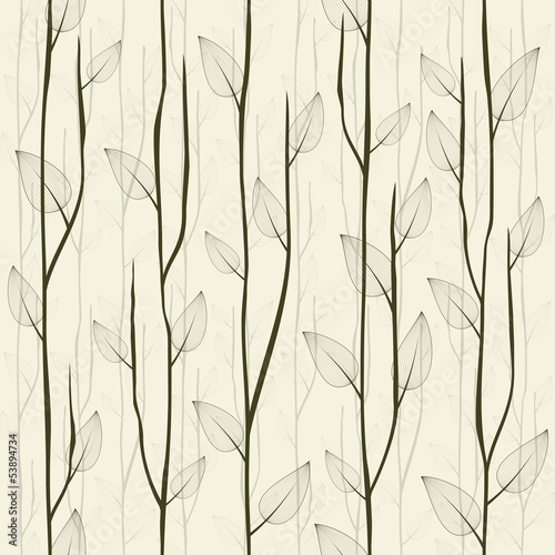 Abstract  leafed seamless pattern