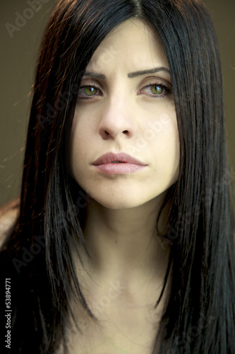 Portrait of woman almost crying sad