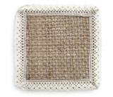 A piece of burlap isolated on a white background poster