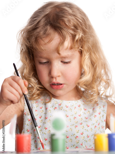 Girl, draws paint