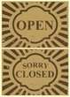 Vintage tin sign - Open and Closed sign - Vector.
