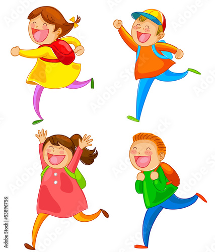 school kids running happily