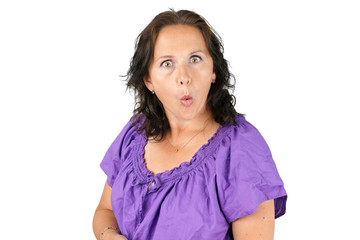 Funny face middle age woman