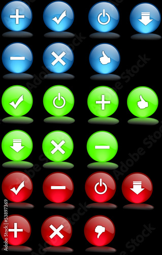 Set of color check mark buttons