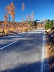 Road to High Tatras from Strba in autumn