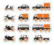 Orange transport and travel icons set