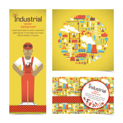 Industrial banners set with workman