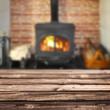 Planches en bois;  rustique fond poêle